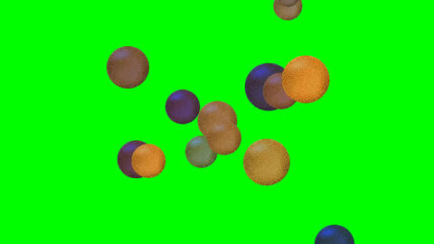 Quick flying small golden and metallic balls with cracked surface on green scree Animation
