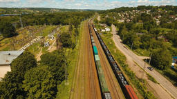 Freight train on the railway Footage