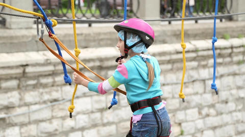 Girl in climbing equipment Footage