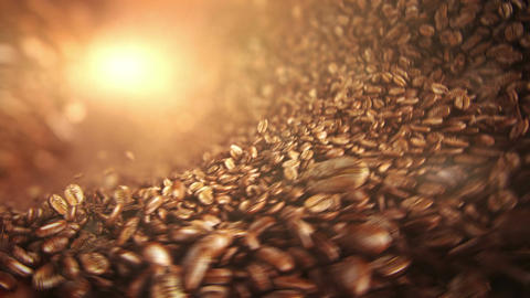 Roasted coffee beans falling wave 画像