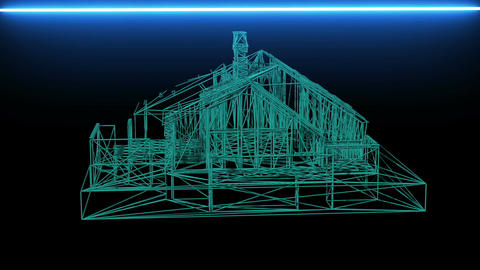 wire frame model of house - 3D Rendering Animation