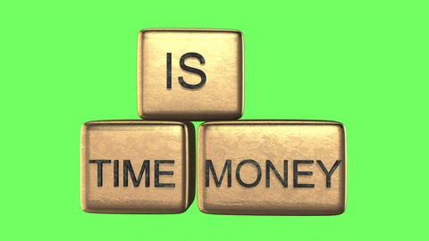 "3d rendering of golden cubes with word ""time is money"" rotate on green screen Animation"