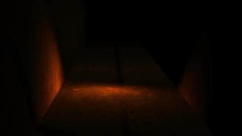 walking in spooky space with low light - Horror scene... Stock Video Footage