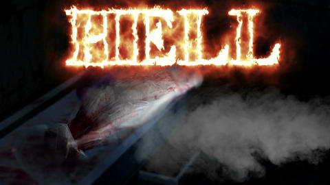 "Horror Zombie with Effects and word ""hell in fire"", mixed media of two CG animat Animation"