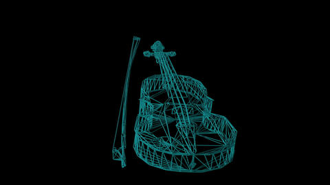 wire frame model of violin - 3D Rendering Animation