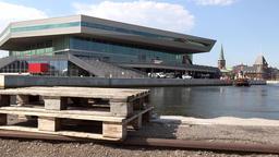 Denmark Scandinavia coastal city of Aarhus wooden palette lies at a pier Footage