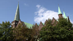Denmark Scandinavia coastal city of Aarhus cathedral church tower & turrets Footage