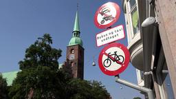 Denmark Scandinavia coastal city of Aarhus Church of Our Lady bell tower Footage