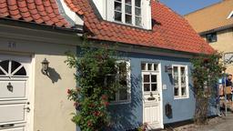 Denmark Scandinavia coastal city of Aarhus Møllestien Street colorful houses Footage
