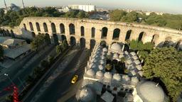 Aerial view. Aqueduct of Valente in Istanbul. Bozdojan Kemeri. Roman bridge. Tur Footage