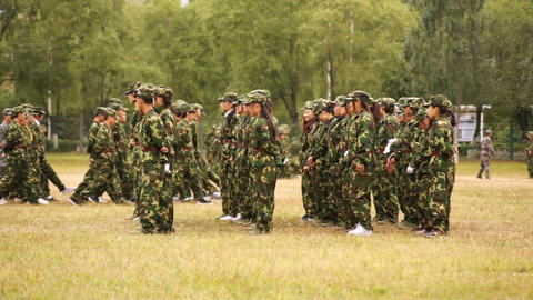 Military Training of Chinese Students 12 Stock Video Footage
