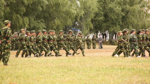 Military Training of Chinese Students 14 Stock Video Footage