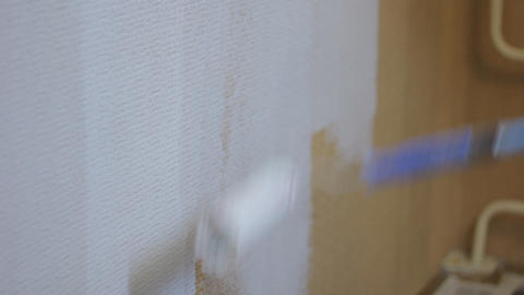 roller painting wall time lapse Stock Video Footage