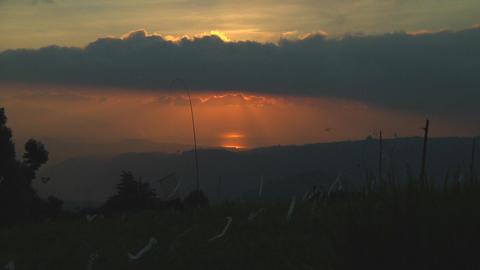 Sunset on riceterraces Stock Video Footage