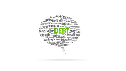 Debt Speech Bubble Stock Video Footage