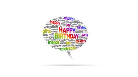 Happy Birthday Speech Bubble Stock Video Footage
