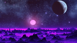Two moon in the sky of a fantastic planet Stock Video Footage