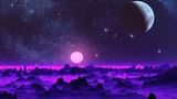 Two moon in the sky of a fantastic planet Animation