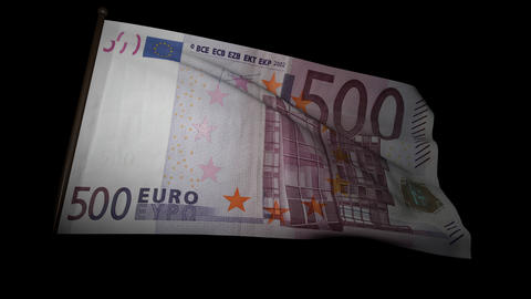 500 Euros bill flag 01 Stock Video Footage