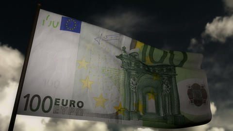 100 Euros bill flag 02 Stock Video Footage