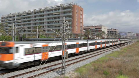 0037 TRSPRT TRAIN BCN Stock Video Footage