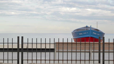 0045 NEW TRSPRT TRAIN BOAT SEA BCN Stock Video Footage