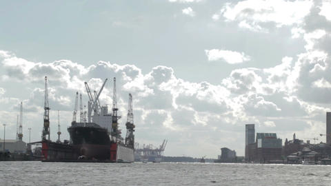 00195 City Ship HAM Stock Video Footage
