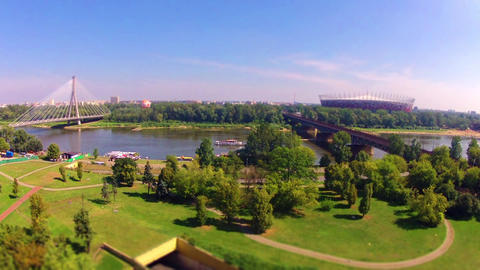 Time lapse Over The Vistula River In Warsaw Stock Video Footage