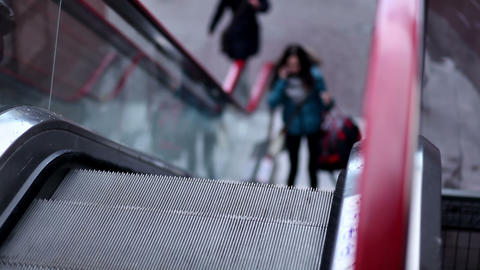 Escalators to the shopping mall Stock Video Footage