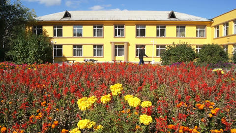 Yellow building and flowers 03 Stock Video Footage