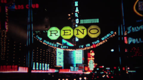 1971: Colorful Hotel Casino Lights At Night Sparkling And Flashing stock footage