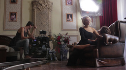 The actress before shooting scenes for the film. Film shooting Footage