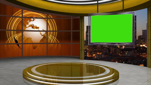 News TV Studio Set 106 - Virtual Background Loop Live Action