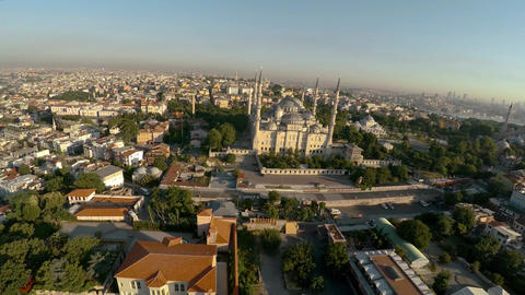 Aerial view. Blue Mosque. Sultan Ahmed Mosque in Istanbul. Turkey. 4K Footage