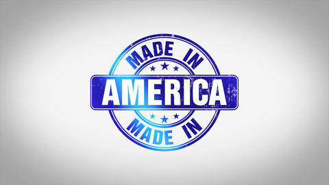 Made in America Word 3D Animated Wooden Stamp Animation Animation