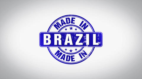 Made in Brazil Word 3D Animated Wooden Stamp Animation Animation