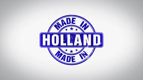 Made in Holland Word 3D Animated Wooden Stamp Animation Animation
