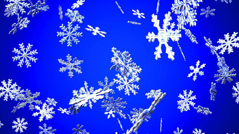 Snow Crystals On Blue Background