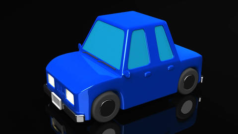 Blue Car On Black Background Animation