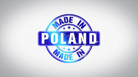 Made in Poland Word 3D Animated Wooden Stamp Animation Animation