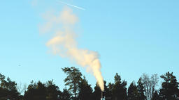 Smoking chimney, forest and blue sky Footage