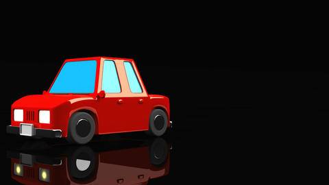 Red Car On Black Text Space Animation