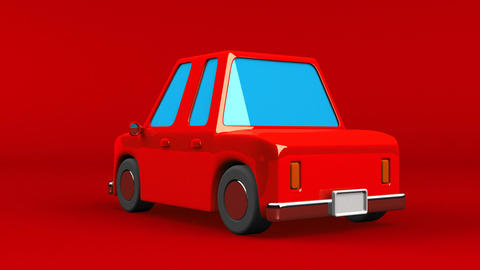 Red Car On Red Background Animation