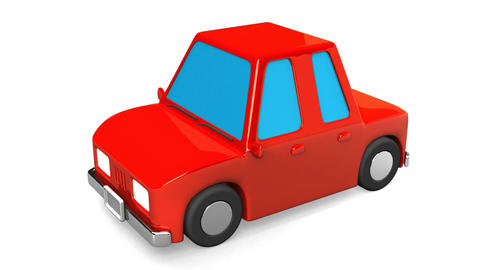 Red Car On White Background Animation