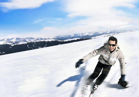 Portrait of a skiing handsome man フォト
