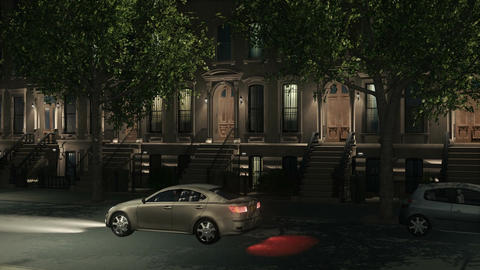 New York City street brownstone homes at night Footage
