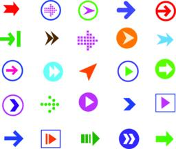 button arrow sign icon set ベクター