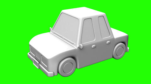 Car On Green Chroma Key Animation