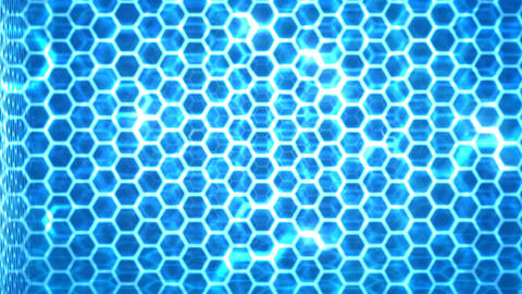 Abstract dark background Honeycomb pattern with lighting effect over the dark ba Footage