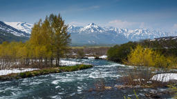 Beautiful view of spring mountain river in Kamchatka Peninsula Image